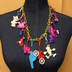 Vintage 80/'s Plastic Clip Charms Bell Necklace Purple Telephone Charm